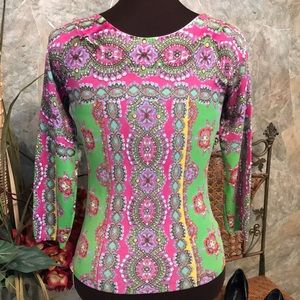 Joseph A. Colorful Shirt top blouse tunic.